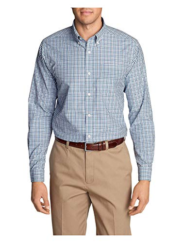 Eddie Bauer Men's Wrinkle-Free Pinpoint Oxford Classic Fit Long-Sleeve Shirt,S Regular,Chambray Blue (Blue)