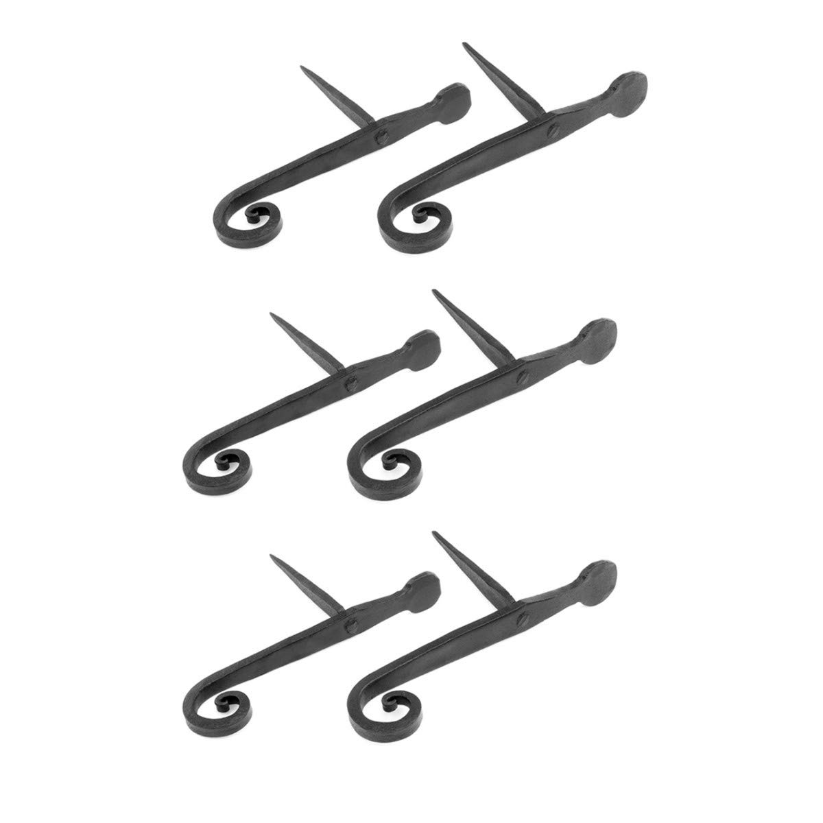 3 Pairs Of Shutter Dogs Black Wrought Iron (6 Pieces Total) by Renovators Supply Manufacturing