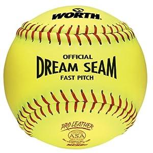 "(1-Ball) ASA 12"" Softball Worth Dream Seam Official Fastpitch Yellow Pro Leather Ball"