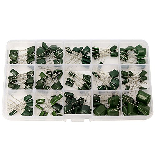 Ltvystore 150 PCS 10 Value 100V 0.33NF- 470NF Polyester Film Capacitor Assortment Kits with Clear Box