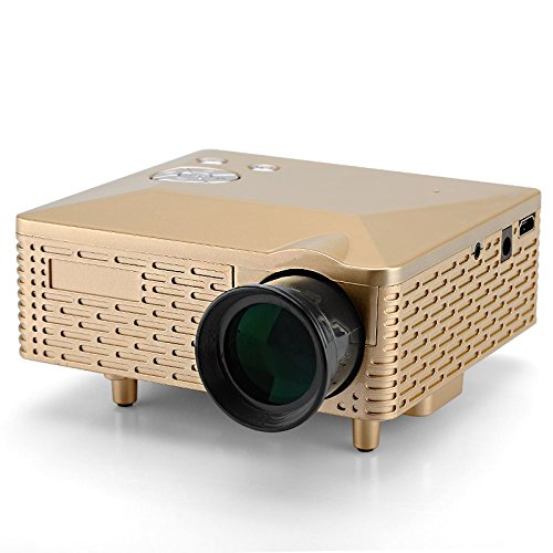 Mini LED Projector (60 Lumens, 400: 1, 1.67M Colors, 1920x1080, Golden) B07BL29HBD