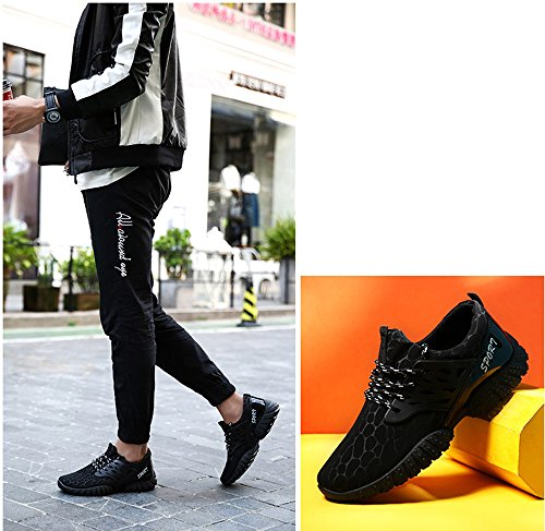 Elwow - Zapatillas de running de Material Sintético para hombre negro negro
