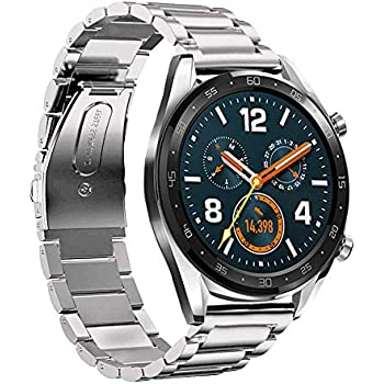 LeafBoat Compatible Huawei Watch GT Band, 22mm Adjustable Classic Wristband Bracelet Stainless Steel Band for Compatible Huawei Watch GT ...