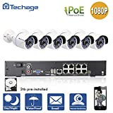 Techage 8CH 1080P POE NVR CCTV System Indoor Outdoor Waterproof Home Security Surveillance Kit With 6PCS IP Camera, With 2TB Hard Drive