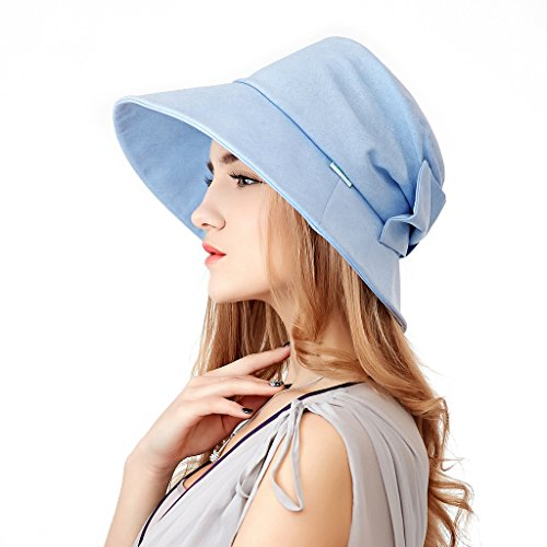 Home Prefer Womens Sun Hat UPF50+ Light Weight Wide Brim Airy Beach Sun Protection Hat Ice Blue