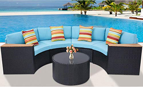 Incbruce 5Pcs Outdoor Sectional Sofa Half-Moon Patio Furniture Set All-Weather Garden Sofa with Round Tempered Glass Top Table, Sky Blue Cushions and Colorful Pillows (Patio Moon Half Furniture)