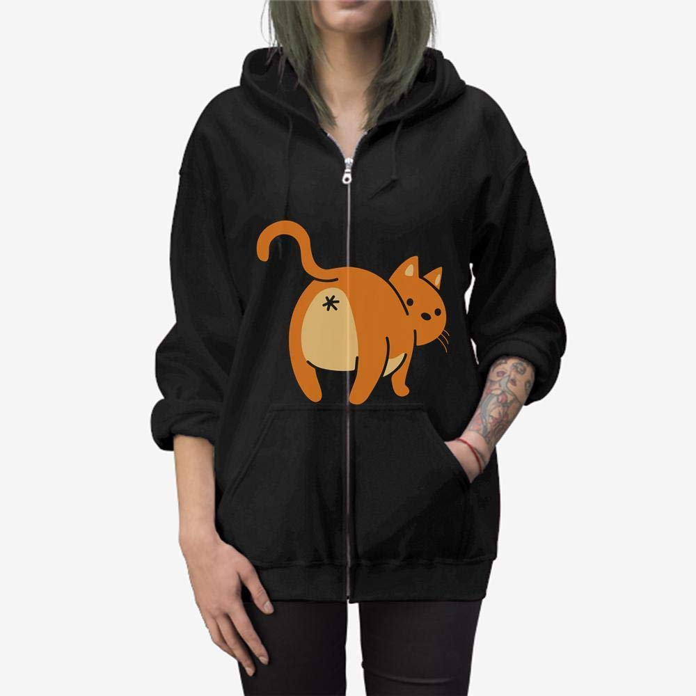 Happy Kitty Cat Butt Zip Hooded Sweatshirt