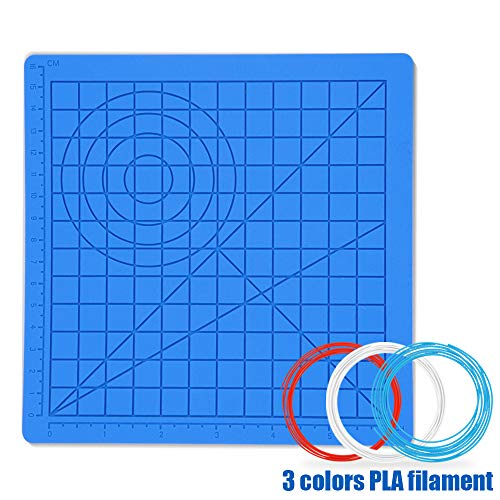 3D Pen Mat Silicone Design Mat - Drawing Tool with Basic Templates for 3D Pen for Kids