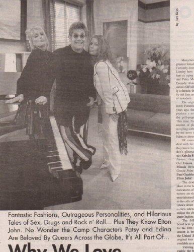Joanna Lumley Jennifer Saunders Elton John Absolutely Fabulous original clipping magazine photo 2page 9x12 #Z5500