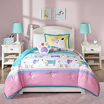 3 Piece Kids Puppy Dog Comforter Twin Set, Cute Adorable Playful Pup Dogs  Bedding,