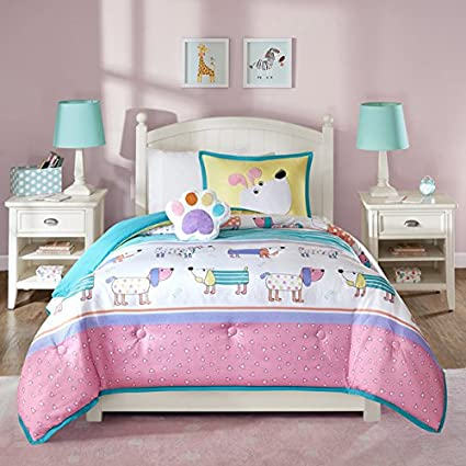 4 Piece Kids Puppy Dog Comforter Full Queen Set, Cute Adorable Playful Pup Dogs  Bedding