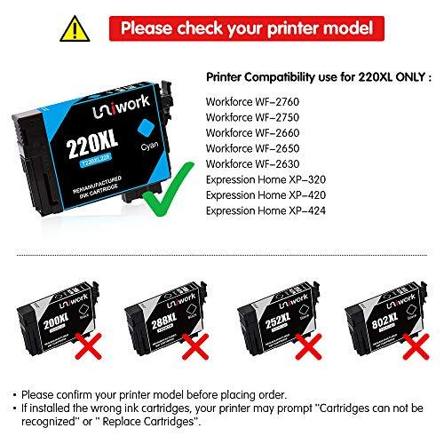 Uniwork Remanufactured Cartridge Replacement for 220XL use WorkForce WF-2750 WF-2630 WF-2650 Printer ,
