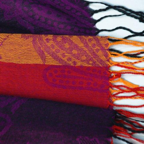 Pa A82 Blancho Pashmina pour femme 5 coloris extrémités de Pashmina avec pompon Rose