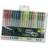 Folia 1929 Black Style Gelschreiber, 20 Stifte, 10x metallic & 10x glitter, mehrfarbig (1 Packung)