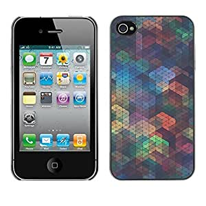 Soft Silicone Rubber Case Hard Cover Protective Accessory Compatible with Apple iPhone? 4 & 4S - polygon iridescent teal shapes pattern