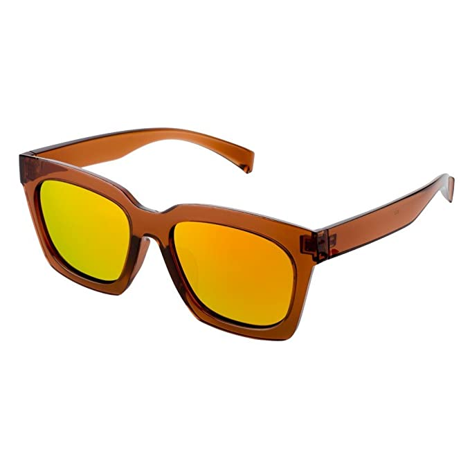 Sunglasses Stylish Retro (Brown Frame & Yellow Lenses) Made With ...