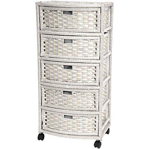 Diamondgift Dresser Casters Wheels Bathroom Bedroom Wicker Storage Cabinet Rattan 5 Drawer White