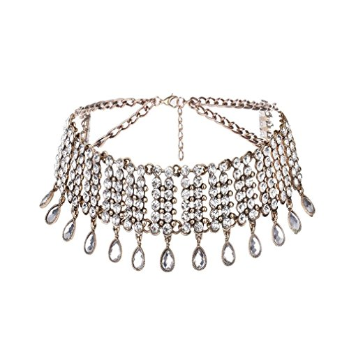 XILALU Women Punk Style Alloy luxurious Crystal Rhinestone Chain Necklace Choker (Gold) ()