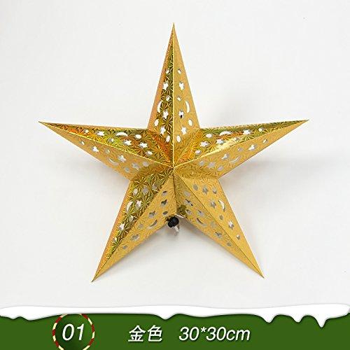 Y-Hui Star Nine Star Bar Mall Festive Arrangement of Decorative Accessories Christmas Ornaments Origami Stars,Laser Pointed Star - Golden 30*30