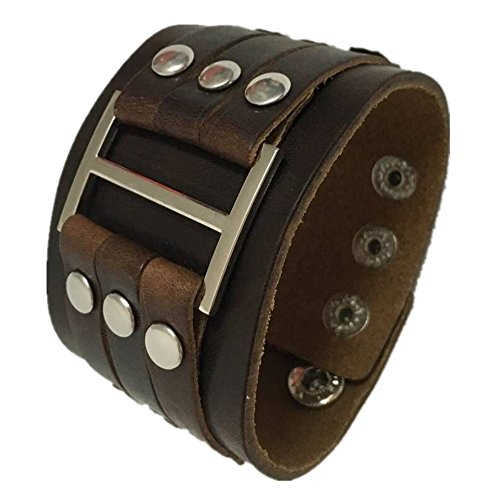 7Buy Both Men and Women Style Cool Wide Big Buckle Rivet Genuine Leather Cuff Wristband Bracelet Bangle (Rivet Bangle Leather)