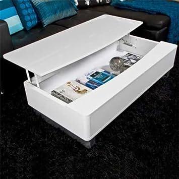 Lounge Zone Design Couchtisch Wohnzimmertisch Kaffeetisch BOX Hochglanz  Weiß 120cm Stauraum 7407