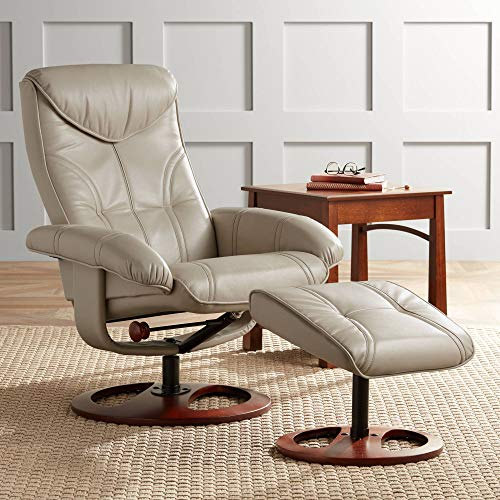 Newport Taupe Swivel Recliner and Slanted Ottoman - - Ottoman And Recliner