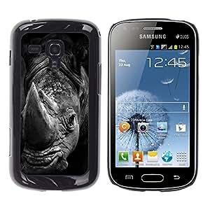 All Phone Most Case / Hard PC Metal piece Shell Slim Cover Protective Case Carcasa Funda Caso de protección para Samsung Galaxy S Duos S7562 rhino black white Africa animal nature