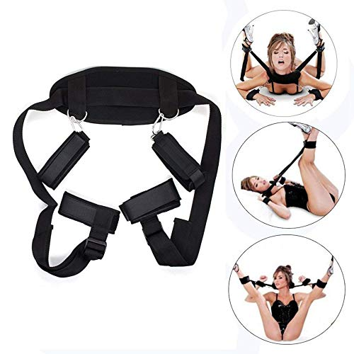Handcuffs Bed Straps Set for Couples, Bed Restraints with Soft Pillow Wrist and Ankle Handcuffs Restraint Straps Rope Fits Most Size Mattress ()