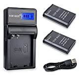 TOP-MAX 2-Pack EN-EL23 Battery and Rapid USB Charger with LED Screen for Nikon Coolpix B700, P600, P610, P610s, P900, P900s, S810c Camera
