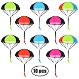 AmFor 10 Pcs Parachute Toys, Kids Tangle Free Throwing Toys Outdoor Flying Toys with Hand Throwing No Batteries for Boys Girls Holiday Birthday Gifts