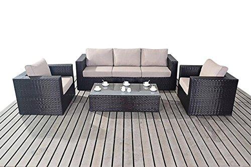 moderne gro e rattan garten sofa set 3 sitzer sofa mit 2 sesseln und ein glas couchtisch dicke. Black Bedroom Furniture Sets. Home Design Ideas