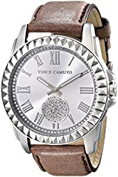 Vince Camuto Women's VC/5195SVTP Swarovski Crystal Accented Taupe Leather Strap Watch