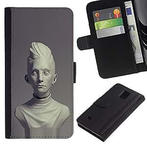 KingStore / Leather Etui en cuir / Samsung Galaxy Note 4 IV / Era classique Buste Marbre
