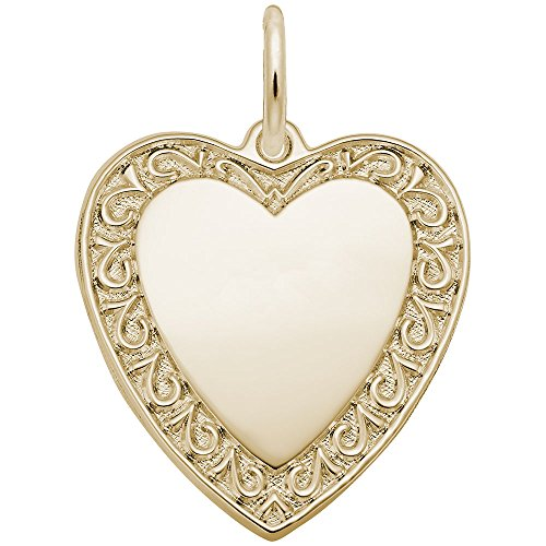 Bordered Hearts (Rembrandt Charms, Bordered Heart, 22K Yellow Gold Plated Silver, Engravable)