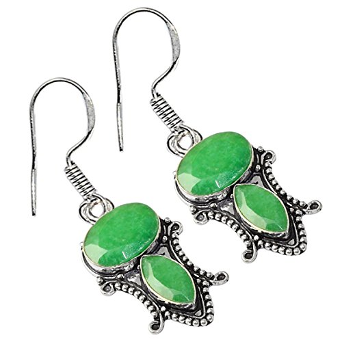 Genuine Cabochon Emerald 925 Silver Plated (High Polished) (Cabochon Emerald Earrings)