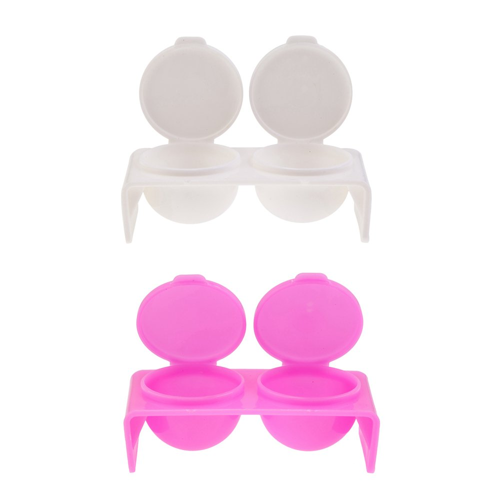 Set of 2 High Quality Strong Plastic Double Dappen Dishes For Liquids And Nail Art Manicures Products In Pink And White With 2 Wells By VAGA