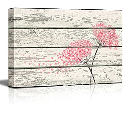 Flowering Pink Blowing in Wind Artworkd- Rustic Canvas Wall Art Home Art - 16x24 inches