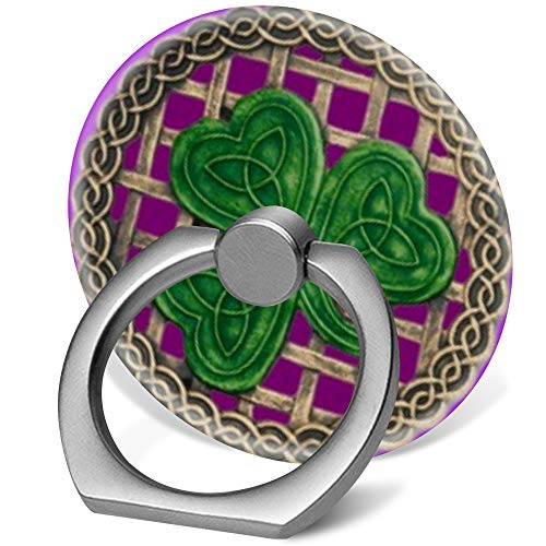 (360 Degree Finger Stand Cell Phone Ring Holder Car Mount with Hook for Smartphone-Purple Shamrock Celtic Knots)