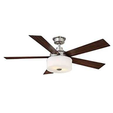 Home Decorators Collection Lindbrook 52 in. Brushed Nickel Ceiling Fan W remote