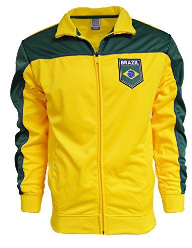 Brazil Jacket Brasil Adult Track Soccer Adult Sizes Soccer Football (Yellow, L) ()