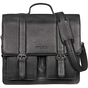 STILORD 'Marius' Teacher Bag XL School Bag Leather Satchel Men Women Business Shoulder Bag Witch 14 inch Laptop Compartment Genuine Leather, Colour:Black