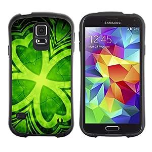 Suave TPU Caso Carcasa de Caucho Funda para Samsung Galaxy S5 SM-G900 / Leaf Clover Green Ireland St Patrick'S / STRONG