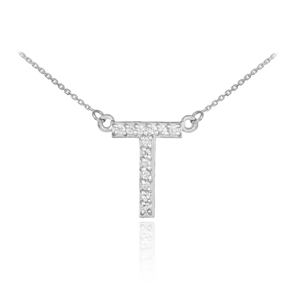 Fine 14k White Gold Diamond-Studded Initial Letter T Pendant Necklace, 20''