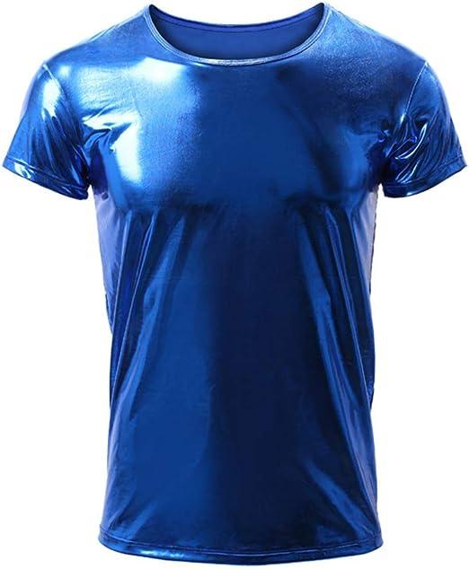 EVR Hombres Camisa de Manga Larga Camiseta Brillante de Cuero Charol Latex para Hombre Blusa con botón Sexy Camisa Invierno Otoño Hip Hop Slim-fit Traje de Club Danza S-XL,Azul,L: Amazon.es: Hogar