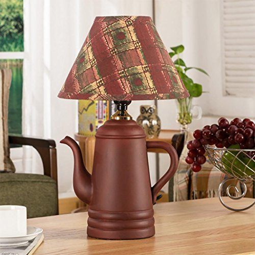 Creative Ceramic Table Lamp Teapot Shape with Fabric Shade for Bedroom Living Room ()