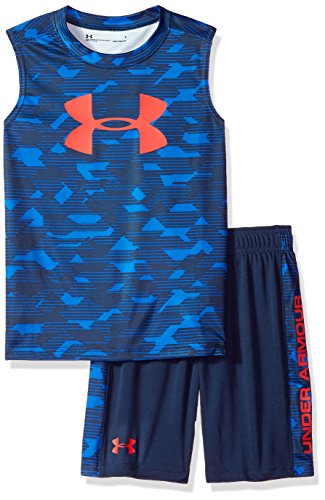 Under Armour Toddler Boys' UA Muscle Tank and Short Set, Blue, 4T