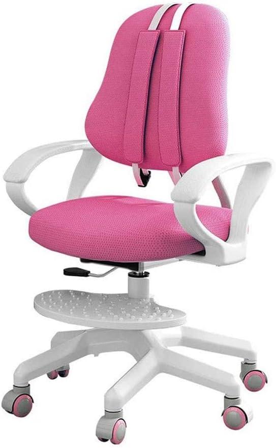 TWDYC Silla de Estudio para niños Alumnos de Escuela Primaria Postura Correcta para Sentarse Silla de Respaldo Oficina en casa Silla de Escritura Silla elevadora (Color : Pink)
