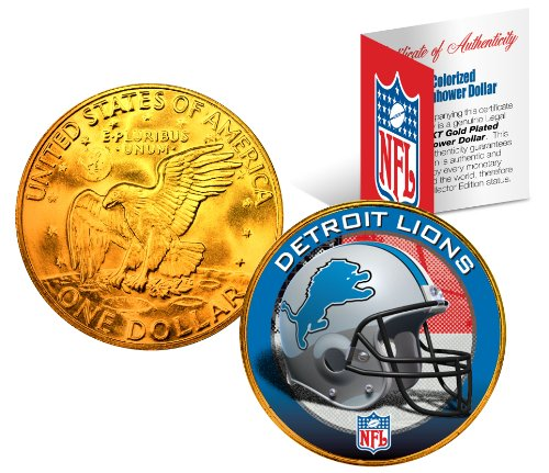 DETROIT LIONS NFL 24K Gold Plated IKE Dollar US Coin OFFICIALLY LICENSED with NFL Certificate (Lion Dollar Coin)