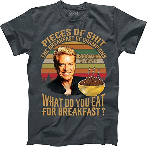 Pieces of Shit The Breakfast of Champions What Do You Eat for Breakfast Shooter McGavin Vintage Retro T-Shirt Happy Gilmore Dark Heather