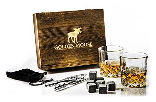 Golden Moose Whiskey Stones Gift Set – 2 Whiskey Glasses (220ml), 8 Exclusive Whiskey Rocks & Velvet Bag + Tongs in a Elegant Wooden Gift Box by Golden Moose (Image #1)
